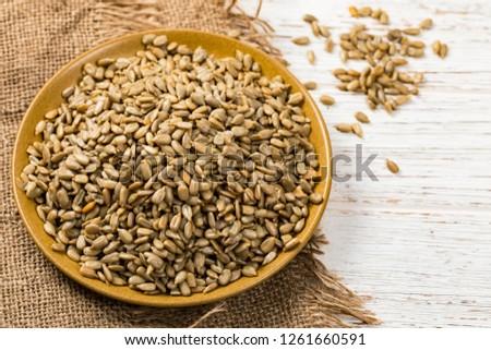 Sunflower Kernels Roasted Seeds Background. Selective focus. #1261660591