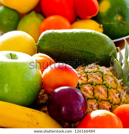 Fruits - assortment of fresh fruits, weight loss concept #126166484