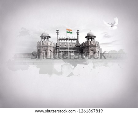 RED FORT DELHI INDIA INDEPENDENCE DAY REPUBLIC DAY FREEDOM OF INDIA Royalty-Free Stock Photo #1261867819