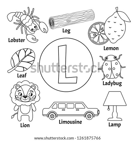 Vector cute kids animal alphabet. Letter L. Set of cute cartoon illustrations. Coloring page.