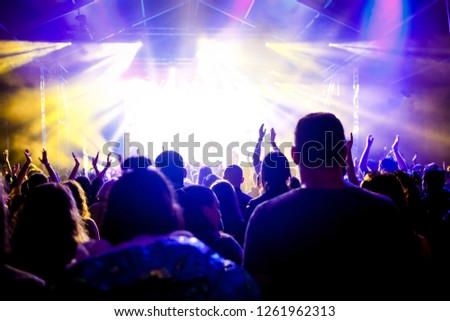 cheering crowd with raised hands at concert - music festival #1261962313