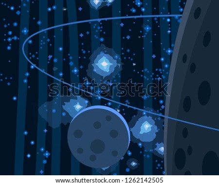 2d illustration. Cartoon space background picture. Deep vast space. Stars, planets and moons. Various science fiction creative backdrops. Space art. Alien solar systems.Planets and Moons. #1262142505