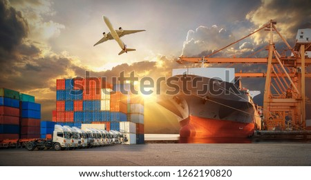 Logistics and transportation of Container Cargo ship and Cargo plane with working crane bridge in shipyard at sunrise, logistic import export and transport industry background #1262190820