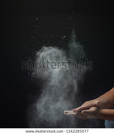 abstract powder splatted background, Freeze motion of white powder exploding/ throwing white powder  #1262285077