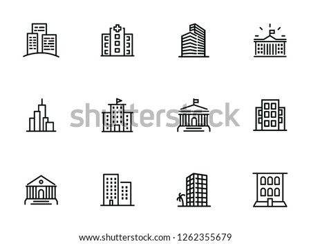 Buildings line icon set. Bank, school, courthouse, university, library. Architecture concept. Can be used for topics like office, city, real estate Royalty-Free Stock Photo #1262355679