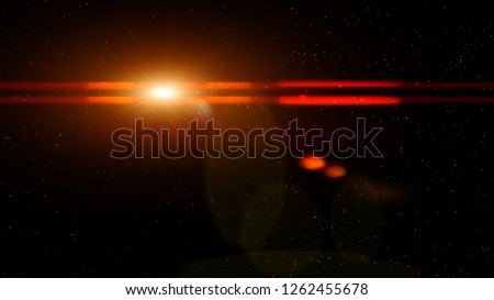 Illustration of bright shining golden glowing light with bokeh and red horizontal lens flare lines on dark night black space sky background with stars #1262455678