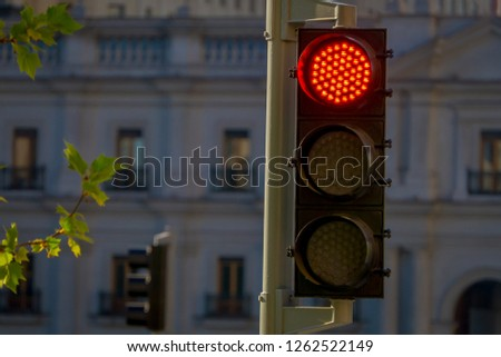 Outdoor view of red traffict light located in the streets of Santiago in Chile, South America #1262522149
