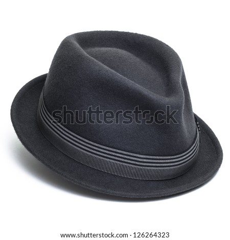 Cool grey, felt trilby/fedora hat isolated on a white background. #126264323