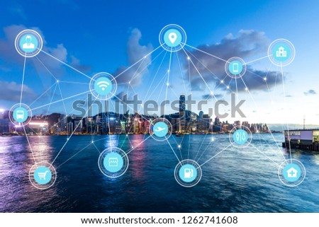 5G network wireless systems and internet of things with modern city skyline #1262741608
