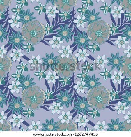 Seamless pattern with flowers, leaves. Floral background. Fabric design, wallpaper #1262747455