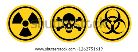 Danger warning circle yellow sign. Radiation sign, Toxic sign and Bio hazard vector icon isolated on white background. #1262751619