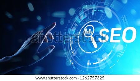 SEO - Search engine optimisation, Digital Internet marketing concept on virtual screen.