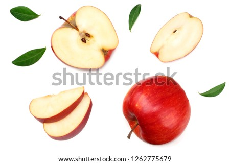 red apples with slices isolated on white background. top view #1262775679