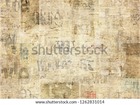 Newspaper with old unreadable text. Vintage grunge blurred paper news texture horizontal background. Textured page. Gray beige sepia collage. Front top view. #1262831014