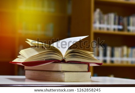 closeup open book in the library #1262858245