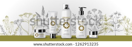 Natural herbal organic cosmetic. 3d realistic ads illustration: cream, tube, spray, bottle, herbs, flowers. Skin care mockup product. Vector medical background. Sketch hand drawn pharmacy plants. #1262913235