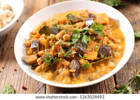 chickpea and aubergine curry #1263028492