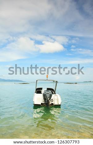 Speed boat floating on tropical beach,Samui island,Thailand #126307793