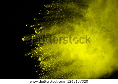 Explosion of colored powder, isolated on black background. Power and art concept, abstract blast of colors. #1263137320