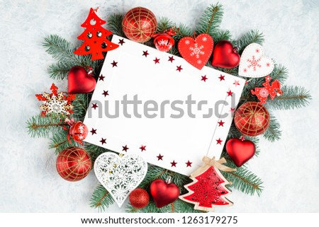 christmas or new year frame composition. christmas decorations in red colors with empty copy space for text. holiday and celebration concept, top view #1263179275