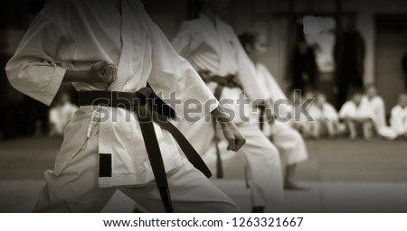 kid's training on karate-do. Banner with space for text. For web pages or advertising printing. Photo without faces, from the back. Royalty-Free Stock Photo #1263321667