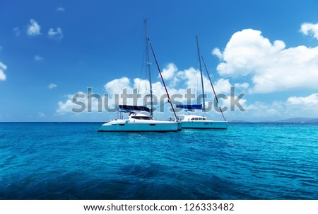 Yacht Sailing on water of ocean #126333482