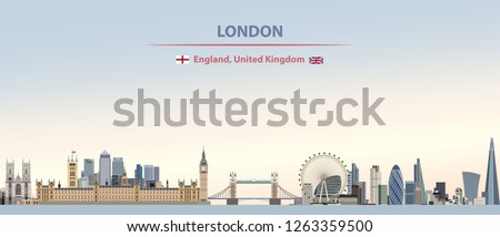 vector abstract illustration of London city skyline on colorful gradient beautiful day sky background with flags of England and United Kingdom Royalty-Free Stock Photo #1263359500