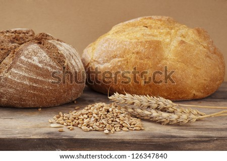 loaf of ray bread over beige background #126347840