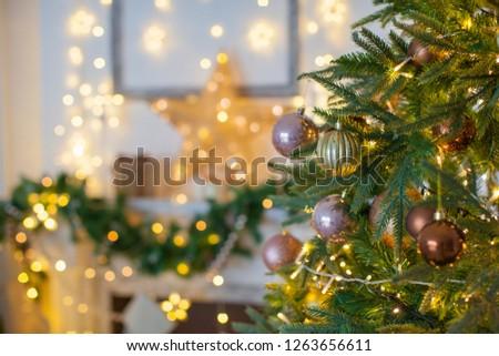 Christmas tree, macro with lighting, new year decoration.  #1263656611