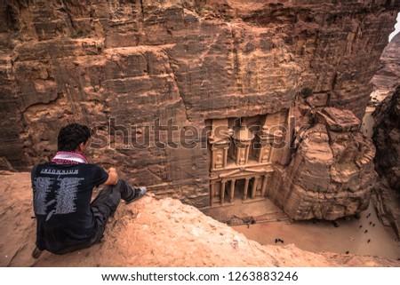 Petra - October 01, 2018: Treasury of the ancient city of Petra, Wonder of the World, Jordan #1263883246