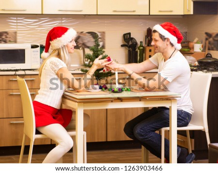 Smiling  couple celebrating Christmas in the kitchen #1263903466