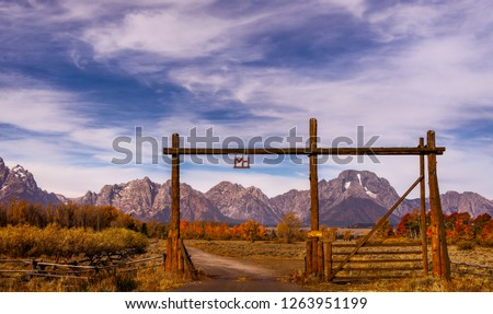 The MH Ranch, a dude ranch inside Grand Teton National Park is a popular stay for tourist. Royalty-Free Stock Photo #1263951199