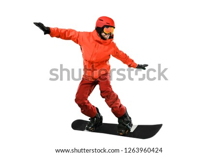 Portrait of young man in sportswear with snowboard isolated on a white studio background. The winter, sport, snowboarding, snowboarder, activity, extreme concept #1263960424