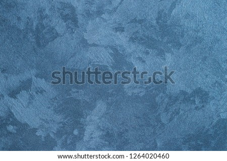 Texture of blue decorative plaster or concrete. Abstract background for design. #1264020460