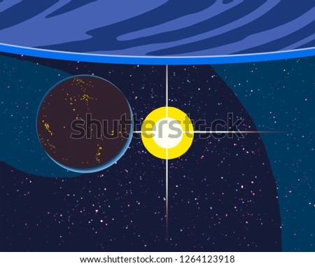 2d illustration. Cartoon draw style picture. Deep interstellar space. Stars, planets and moons. Various science fiction creative backdrops. Space art illustration for kids.Planets and Moons. #1264123918