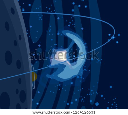 2d illustration. Cartoon draw style. Deep interstellar space. Stars, planets and moons. Various science fiction creative backdrops. Space art. Imaginary cosmic backdrop.Planets and Moons. #1264126531