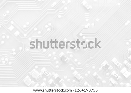 Abstract white texture background of printed circuit board. Electronic computer hardware technology. Tech science background. Integrated communication processor. Information engineering component.  #1264193755