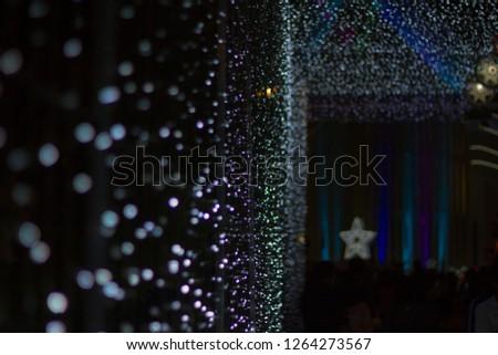 Chrismas Festival ,Light of star,light of Church,lamp of star,light of star,Tunnel of light,Star Wall in the night,Christmas light,at Ban Tha Rae,Sakon Nakhon,Thailand. #1264273567