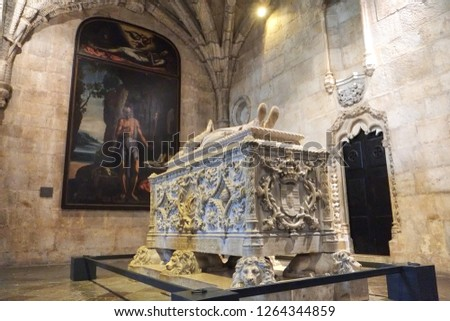Lisbon, Portugal - 07.28.2016: The Jerónimos Monastery or Hieronymites Monastery. Church of Santa Maria. Tomb of Vasco da Gama #1264344859