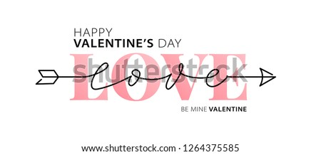 Happy Valentines Day. Love. Be my Valentine. Vector illustration isolated on white background. Hand drawn text for Valentines Day greeting card. Typography design for print cards, banner, poster #1264375585