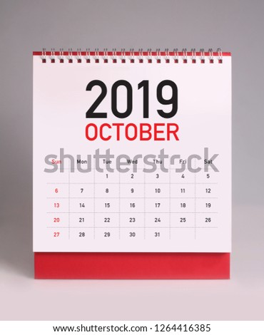 Simple desk calendar for October 2019 #1264416385