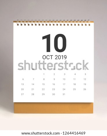 Simple desk calendar for October 2019 #1264416469