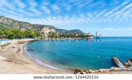 Landscape with amazing beach Baie des Fourmis, Beaulieu sur Mer,  Cote d'Azur, France Royalty-Free Stock Photo #1264420126