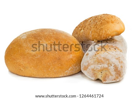 a loaf of white bread, buns and a baguette on a white background #1264461724