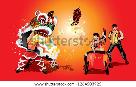 A Chinese lion raising it's head, firecrackers and a team playing drums and cymbal. In various colors and presented in splashing ink drawing style. Vector.  #1264503925