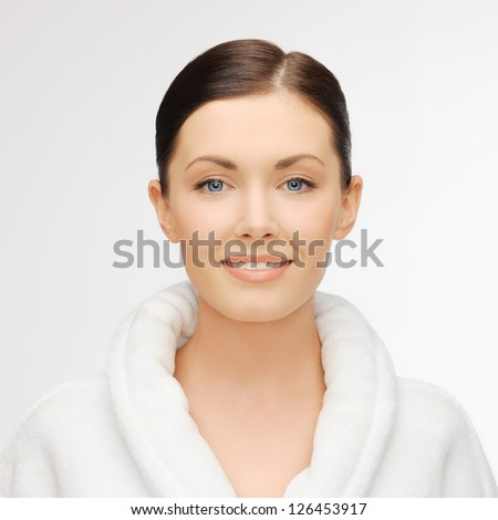 picture of beautiful woman in white bathrobe #126453917