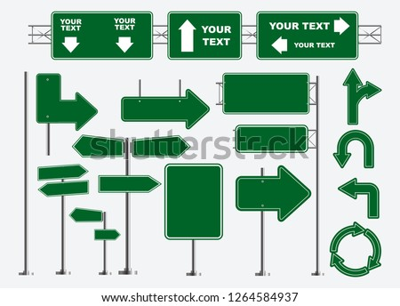 Set of road signs isolated eps 10 vector Royalty-Free Stock Photo #1264584937
