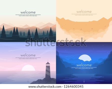 Vector banners set with polygonal landscape #1264600345