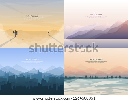 Vector banners set with polygonal landscape #1264600351