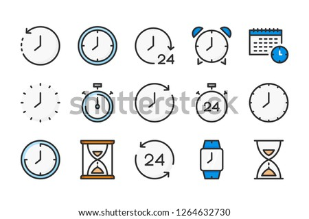 Time and clock color line icons. Alarm and timer vector linear colorful icon set. Isolated icon collection on white background. #1264632730